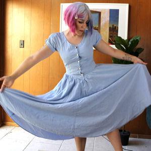 Cottagecore Baby Blue Full Circle Skirt Dress